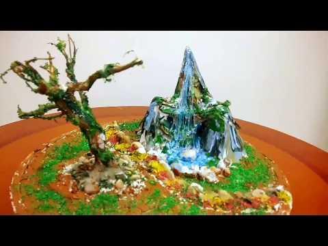 Hot glue waterfall realistic ,Ease hot glue waterfall , Miniature craft , homedecor craft