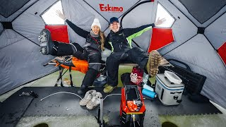 Winter Camping on ICE! (Catching fİsh at 2AM)