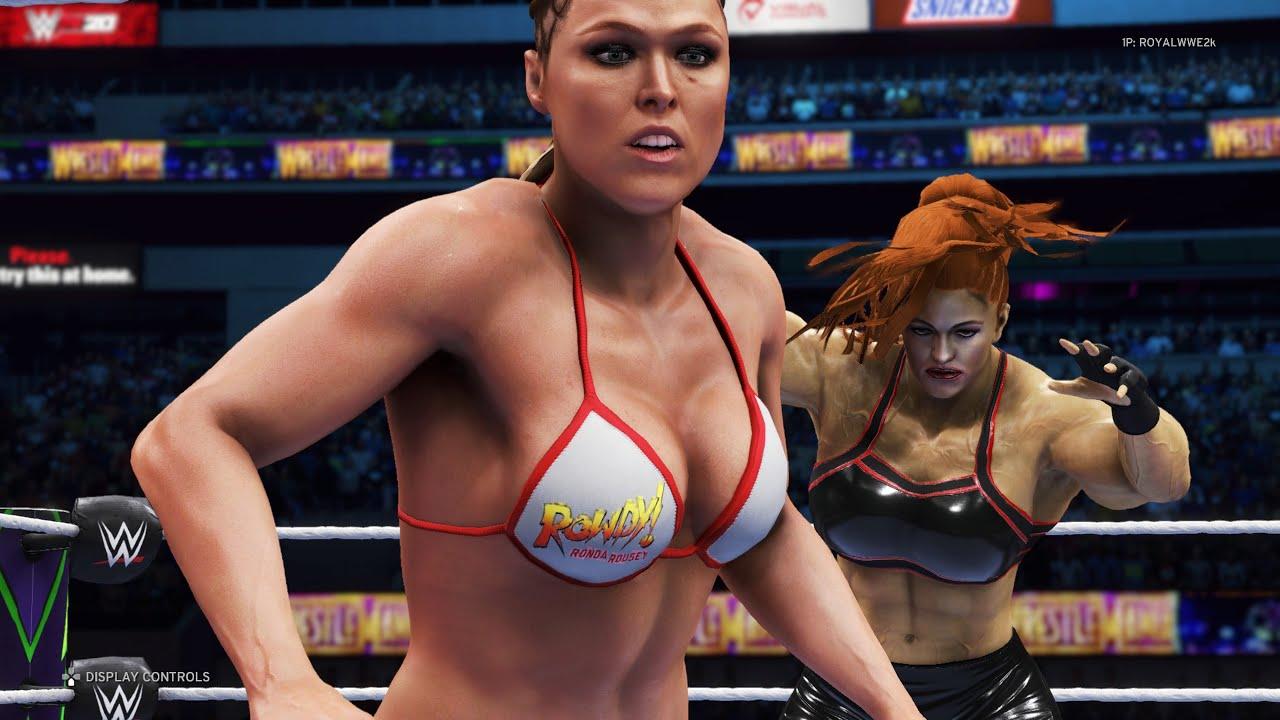 WWE 2K20 - Ronda Rousey vs. The Crusher - Bikini Girl Fights 💜