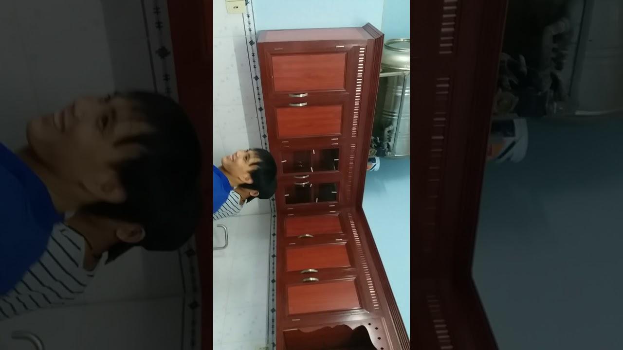 Đóng tủ bếp nhôm kính giá rẻ quận 6 TPHCM – Mẫu vân gỗ cao cấp giá rẻ thi công lắp đặt nhanh