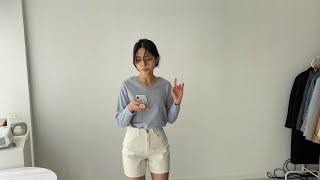 여자봄코디 브이넥니트 헤링본반바지 | 사색 쇼핑몰 촬영…