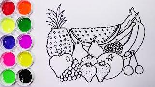 Dibujando y Coloreando Frutas Para Niños - Dibujos Para Niños / FunKeep