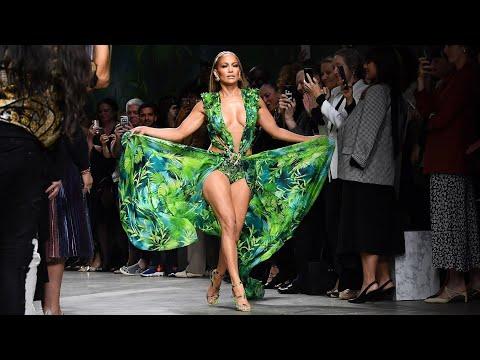 Jennifer Lopez Catwalking with  Green Versace Dress 2019