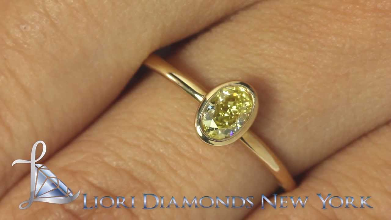 Fd232  050 Ct Fancy Yellow Oval Cut Diamond Solitaires Engagement Ring  14k Yellow Gold