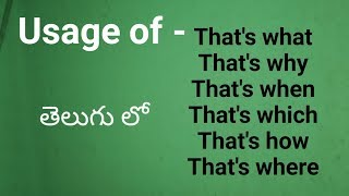Usage of Conjunctions -That's what/That's why/when/ where/which/how