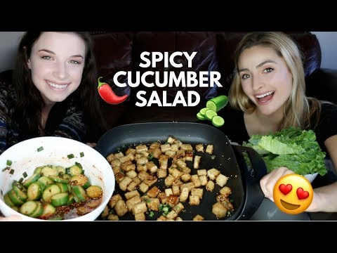 Korean Cucumber Salad Recipe! & Easy Stir Fry Tofu Recipe and Mukbang
