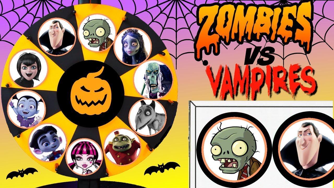 Zombies VS Vampires Halloween Spinning Wheel Game Punch Box Surprises