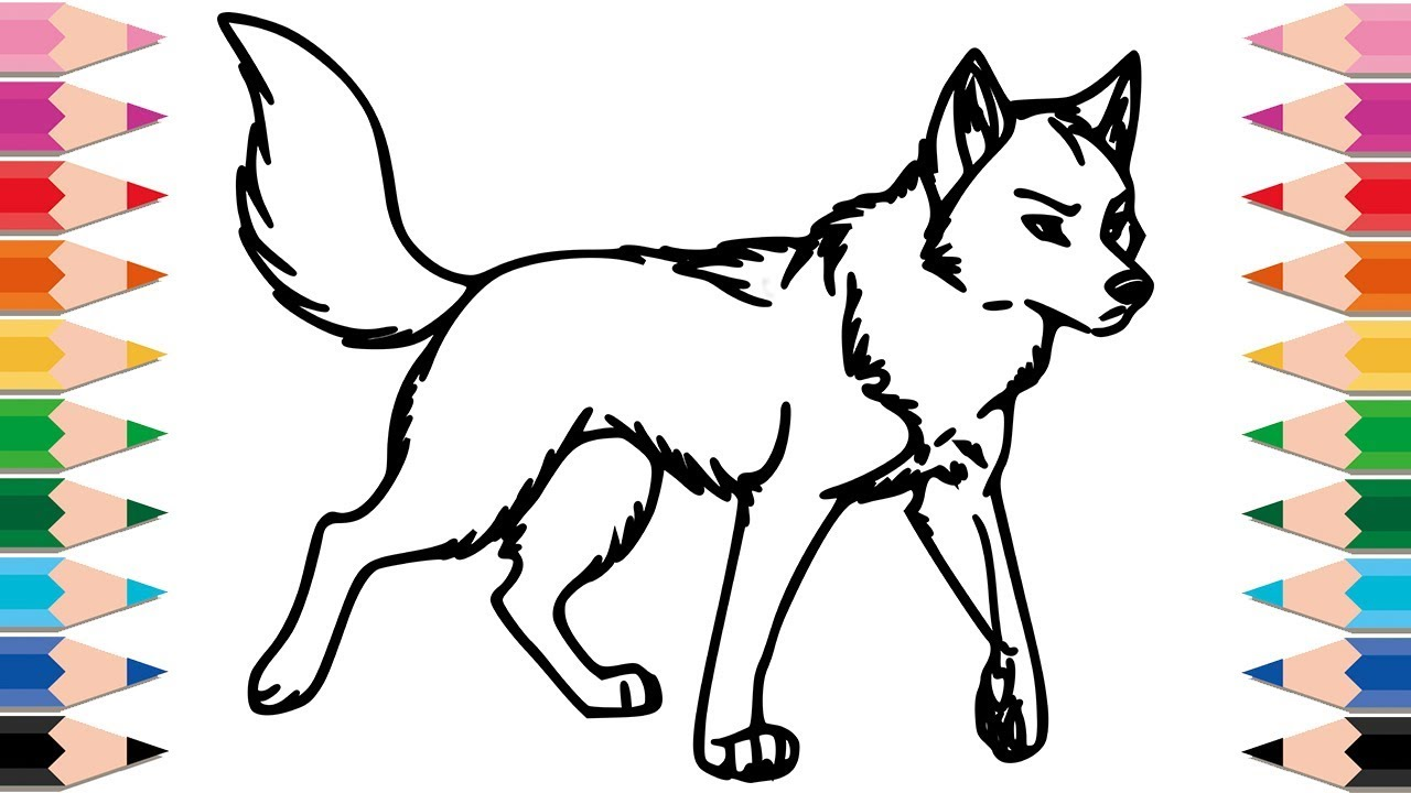 How to Draw Wolf Coloring Pages for Kids Drawing Animals Learn ...