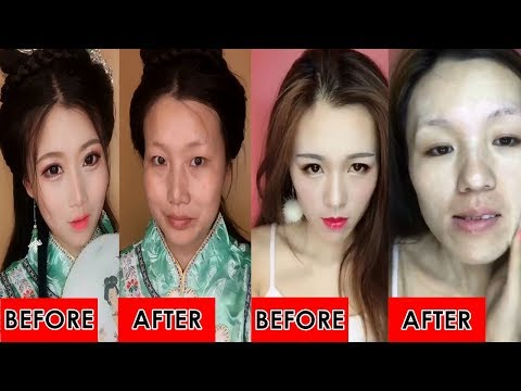 Top 10 Crazy Asian Makeup Transformation Before And After 女神卸妆后