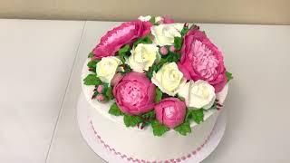 ПИОНЫ из Белкового Крема Розы из БЗК Красивый торт