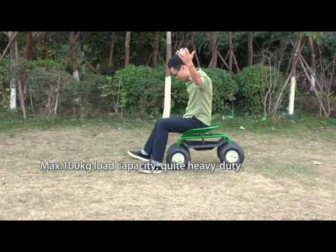 iKayaa Heavy-duty Steel Rolling Garden Cart Scooter  Planting