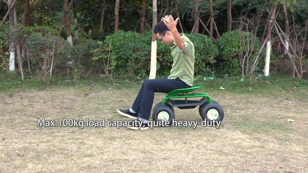 Beau IKayaa Heavy Duty Steel Rolling Garden Cart Scooter Planting