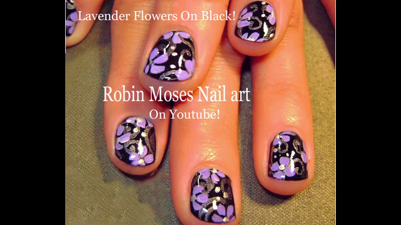 Nail Art Tutorial For Short Nails Lavender Flowers On Black Diy You