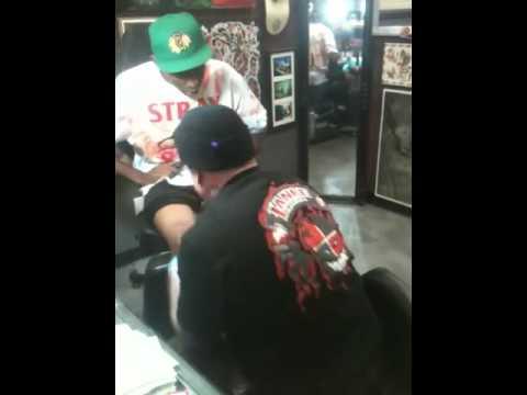 Legendary skater Eric Dressen tattooing Tyler the Creator ...