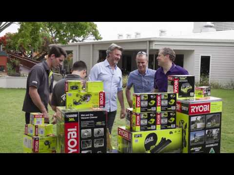 Barry Du Bois presents Hummingbird House with some RYOBI tools