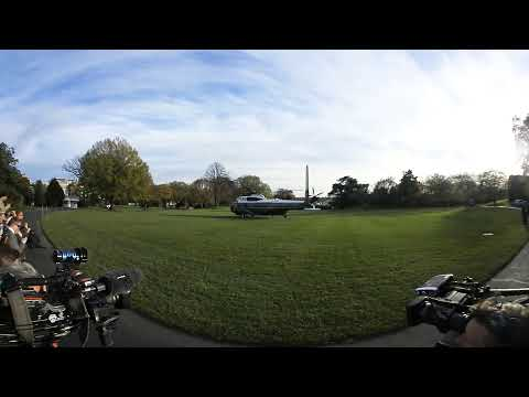 A Sikorsky VH-3D Sea King becomes Marine One on South Lawn of the White House