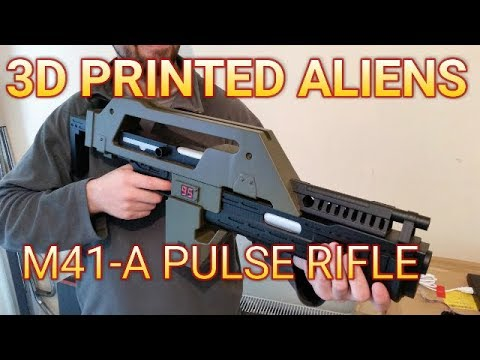 3D Printed Aliens M41-A Pulse Rifle [Time-lapse] Myminifactory STL File | Replica Prop Gun |