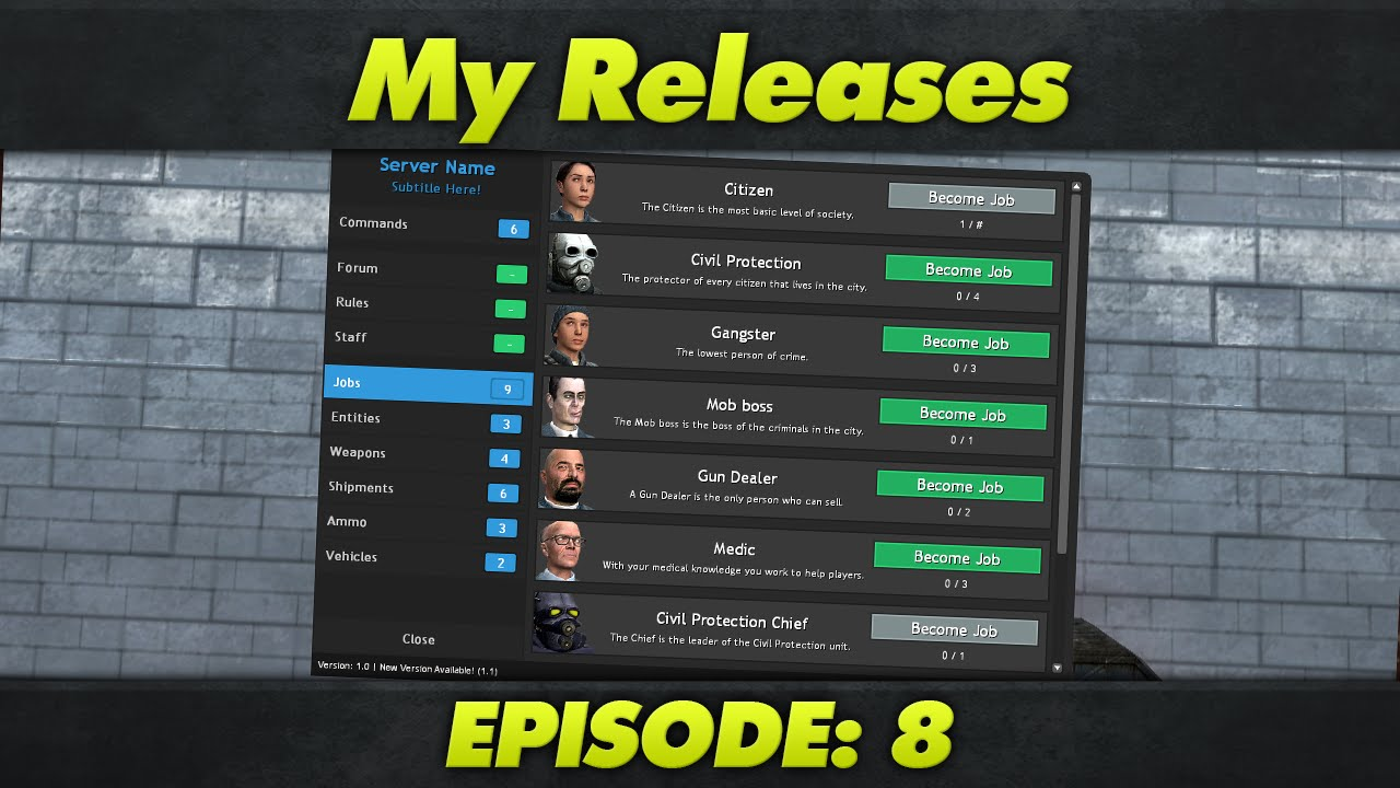 My Releases : Episode 8 : DarkRP 2 5 F4 Menu