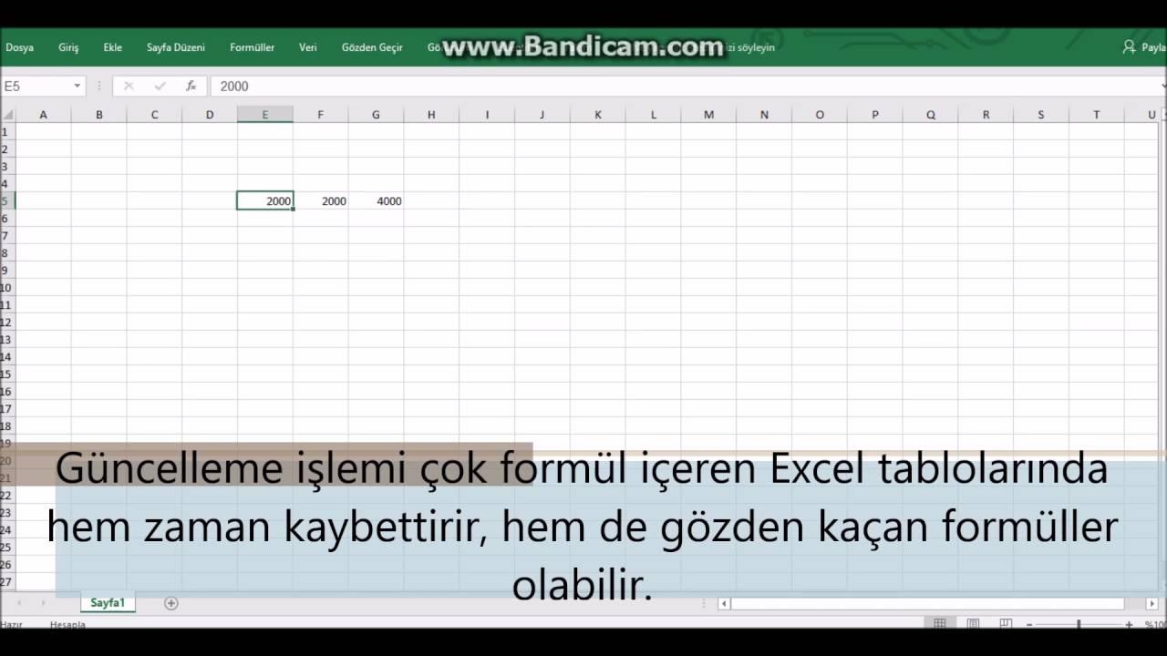 Excel Hesaplama Seçeneklerinin Otomatik Otomatik Olarak Ayarlanması