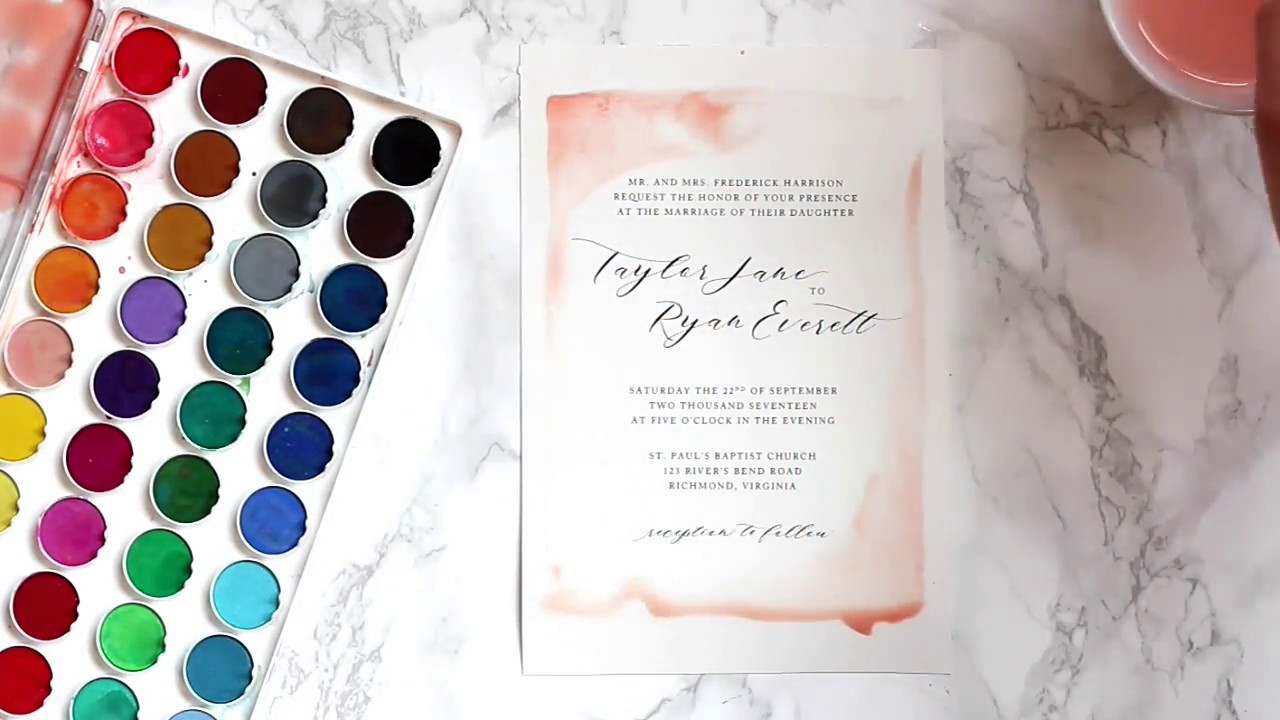 Diy watercolor wedding invitations youtube diy watercolor wedding invitations junglespirit Image collections
