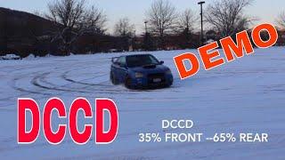 Subaru WRX STI snow drift DCCD demo of Diff pressure auto %65 rear drive