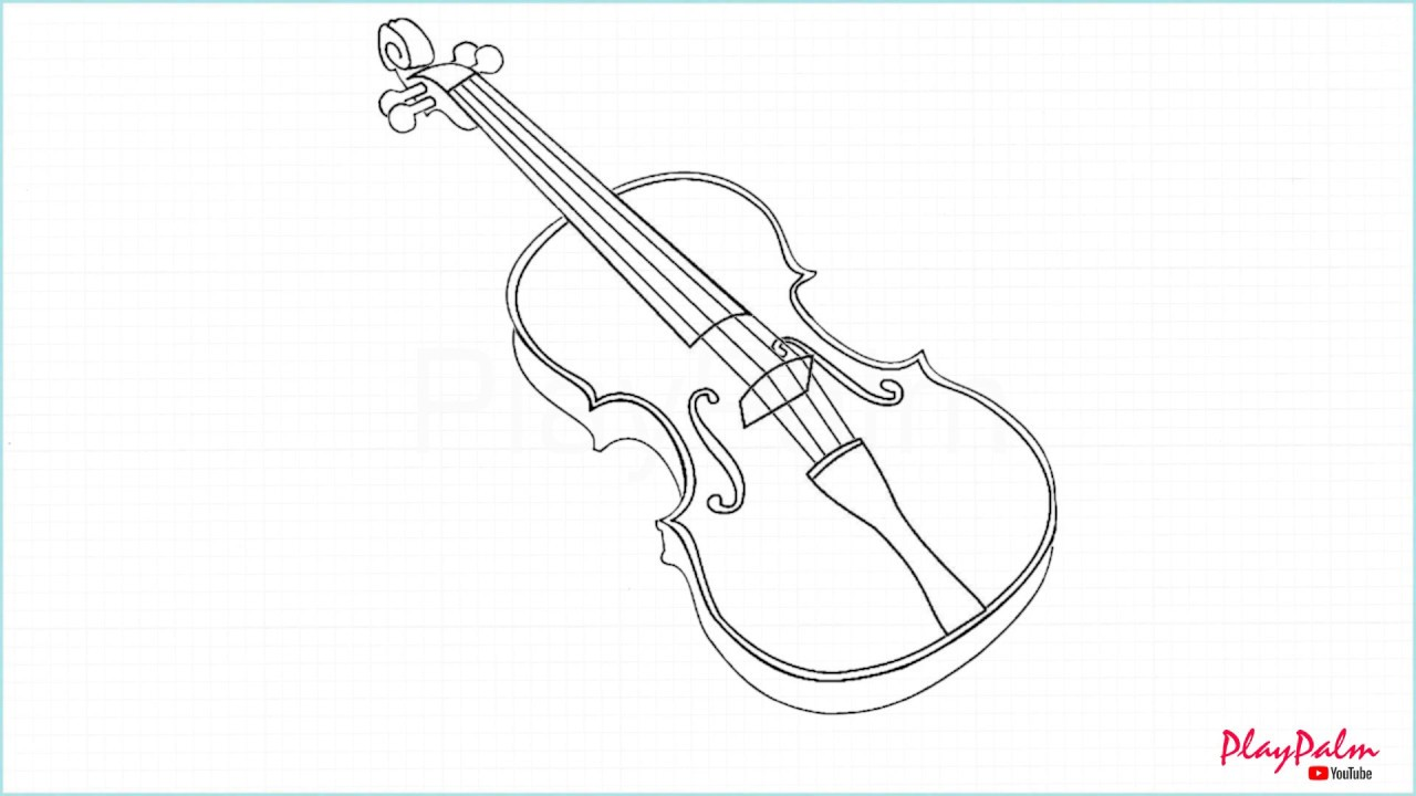 How To Draw Violin Youtube
