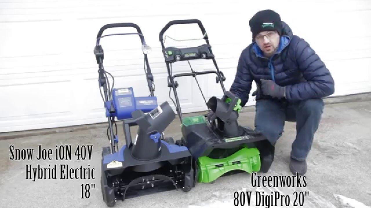 Compare Design Snow Joe Ion 40v Hybrid Vs Greenworks 80v Digipro Throwers
