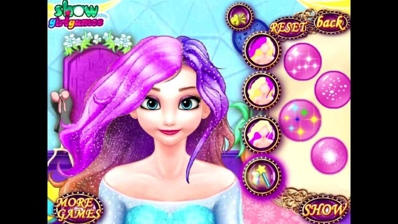 elsa dye hair design games