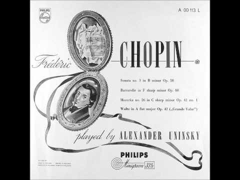 ALEXANDER UNINSKY plays CHOPIN Barcarolle Op.60 (1953)