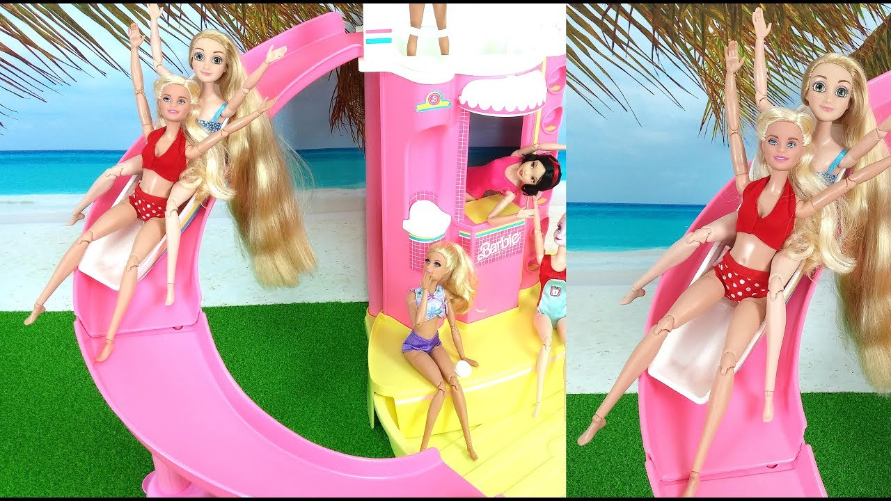 Barbie Pool Slide Water Park Pool Party Barbie Swimming Puppy Barbie Piscina Deslizar