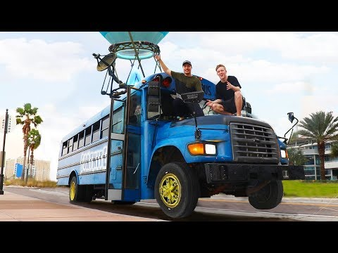 Surprising TFue With A Fortnite Battle Bus In Real Life