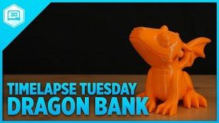 PVA / PLA Cute Dragon Bank - Timelapse Tuesday #3DPrinting