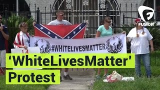 White Lives Matter Protesters Hold Confederate Flags Outside NAACP
