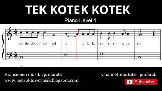 not balok tek kotek kotek - tutorial piano grade 1 - notasi lagu tek kotek anak ayam