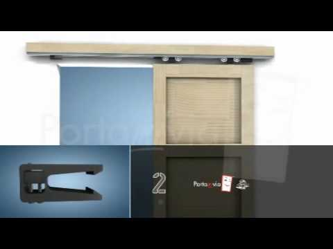 Do It Yourself Interior Wood Doors By Portamivia   Sliding Doors Outside  The Wall   YouTube