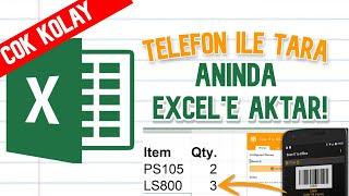 Telefonun ile tara ANINDA Excel'e gelsin! Excel'e barkod almak hiç bu kadar kolay olmamıştı