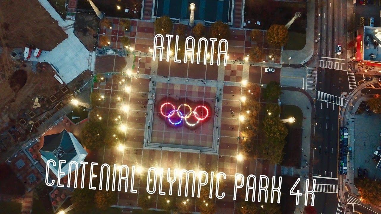 Centennial Olympic Park - Atlanta 4K Drone footage - YouTube