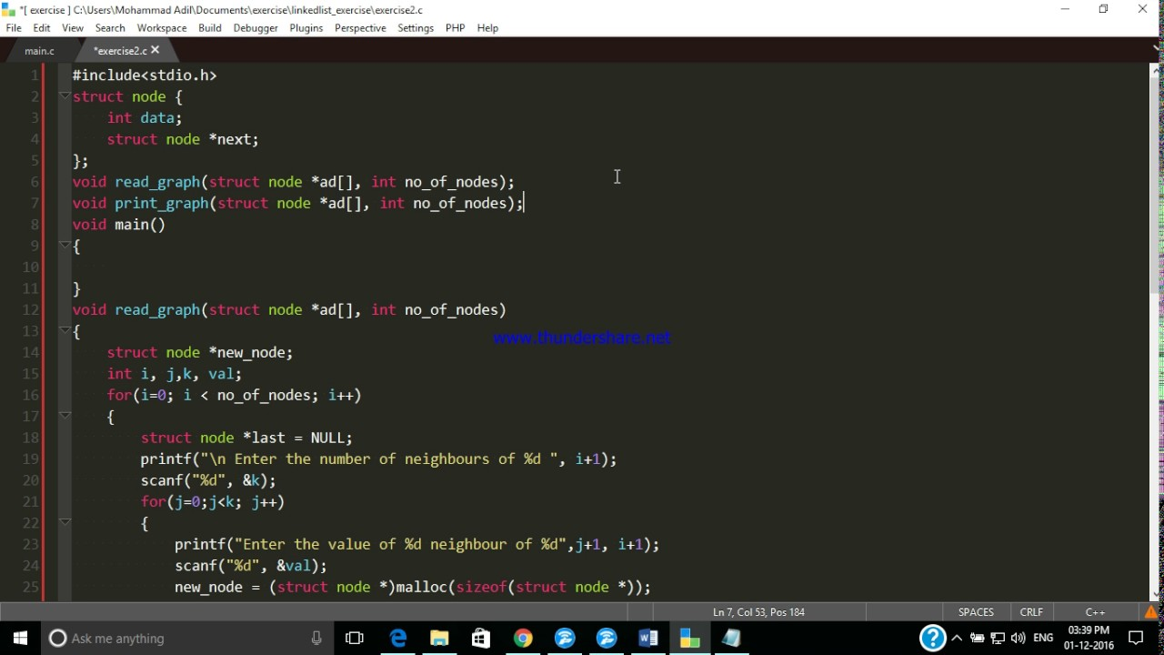 Implementation Of Line Drawing Algorithm In C : Graph implementation in c youtube