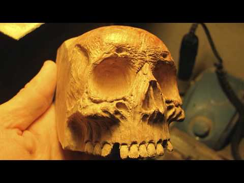 Hand carved smoking pipe | wood carving | skull pipe from briar