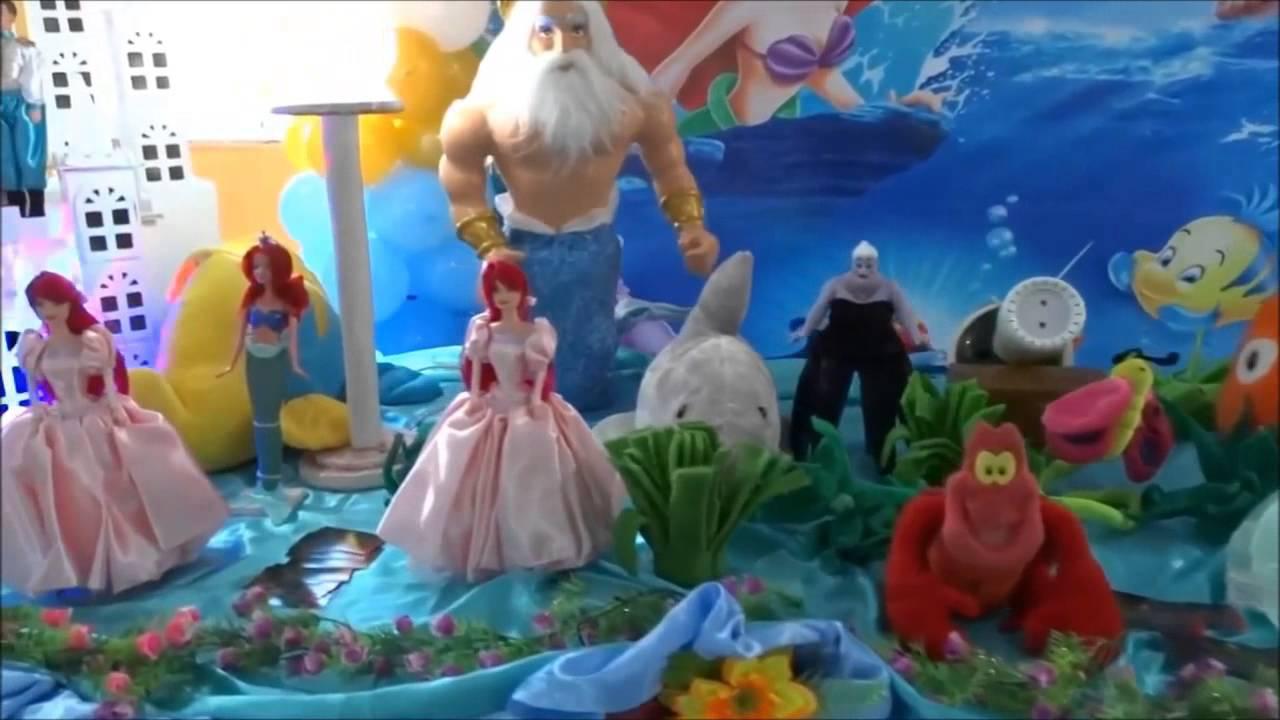 A Pequena Sereia Decoraç u00e3o de mesa temática para festa de aniversário infantil YouTube -> Decoração De Mesa Para Festa Da Sereia