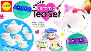 Painting Ceramic Ninja Turtles + Hello Kitty Tea Set - Alex Toys Kid Kitchen Review