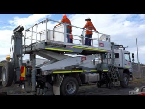 HMA Materials Handling   Hi Rail Scissor Lift
