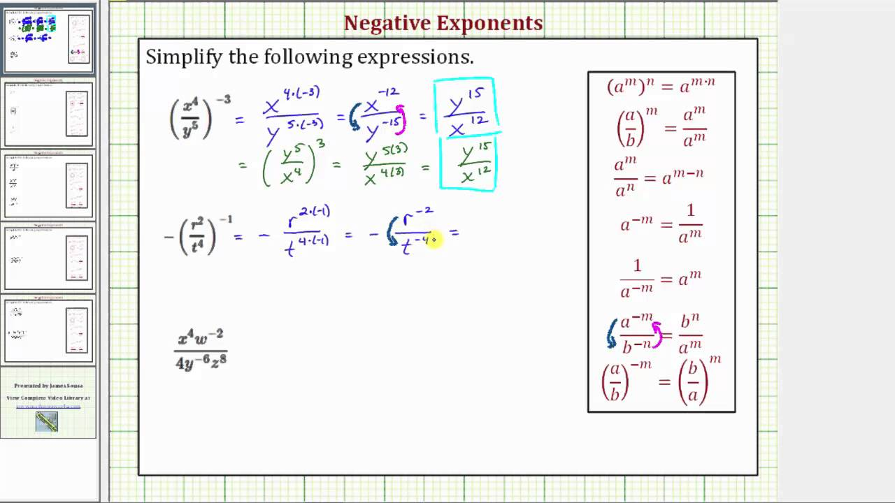 Ex: Negative Exponents Fractions With Powers Raised To Powers
