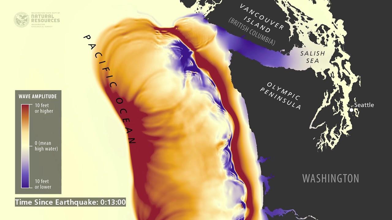 Tsunami wave simulation for Washington State