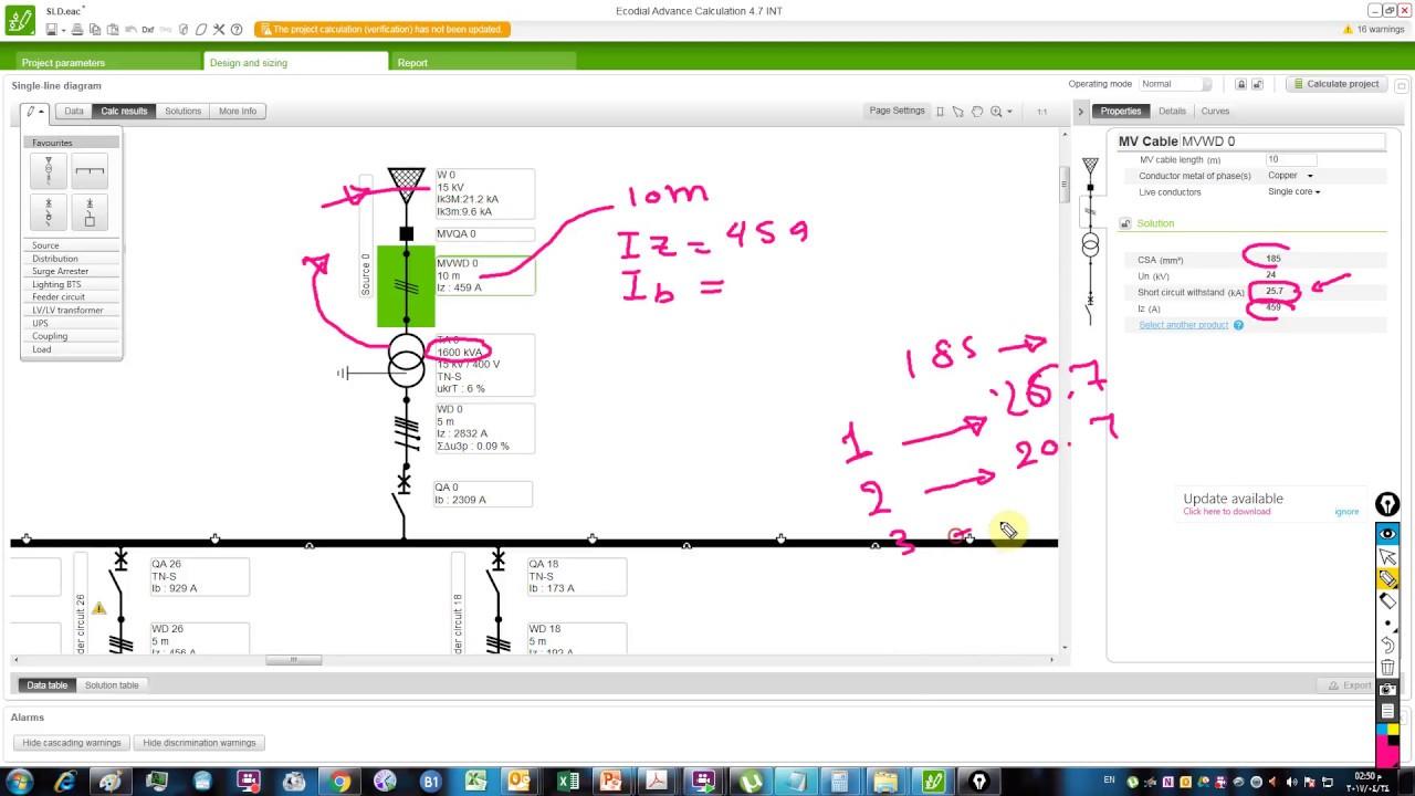single line diagram calculation iec standard part 5 medium voltage calc ecodial [ 1280 x 720 Pixel ]