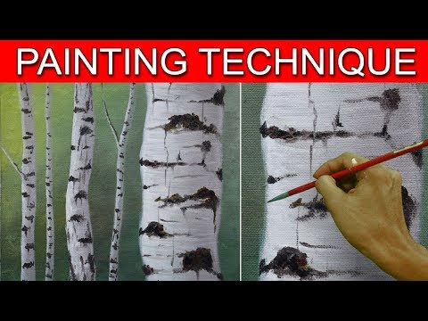 How to Paint Birch Tree Trunks in a Basic Step by Step Acrylic Painting Tutorial by JM Lisondra