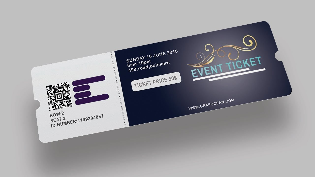 Event Ticket Design Photoshop Tutorial YouTube - Event ticket template photoshop