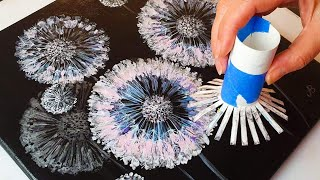 FANTASY Dandelion Acrylic POURING Tutorial - Toilet Roll Painting Method | ABcreative
