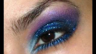 my new years eve makeup look blue and purple glitter smokey eye