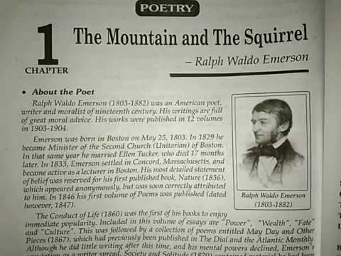 Clas 9 English Poetry Chapter 1 The Mountain And Squirrel Youtube Paraphrase